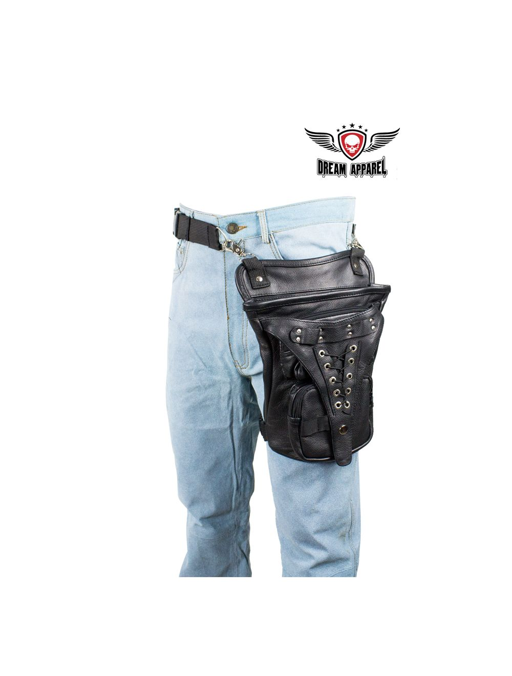 Braided Naked Cowhide Leather Chaps W/ Mesh & Zipout