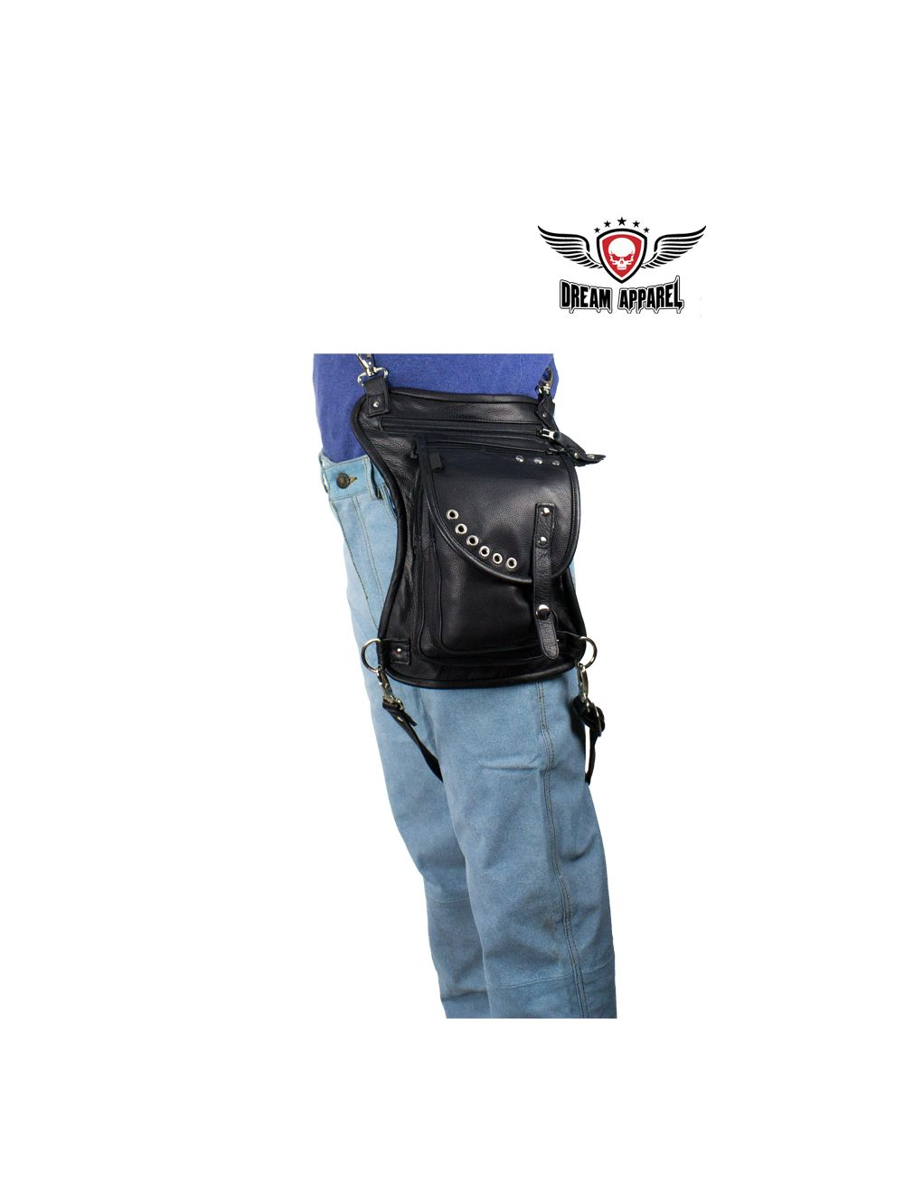 Black Naked Cowhide Leather Multi-Pocket Laced Thigh Bag W